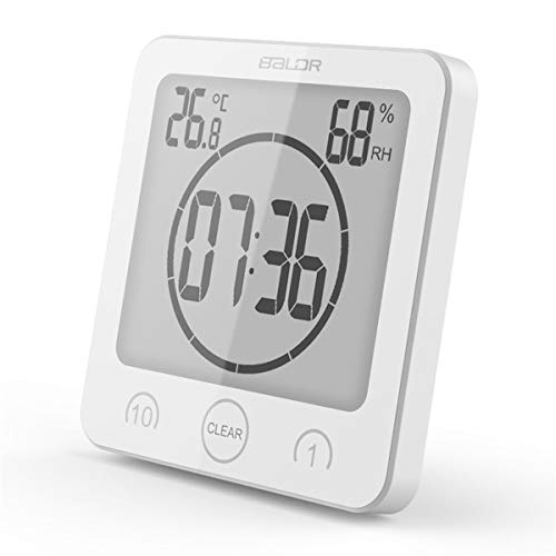 Digital Bathroom Shower Wall Clock Timer with Alarm, Waterproof for Water Spray, Touch Screen Timer, Temperature Humidity Display with Suction Cup Hanging Hole (White)