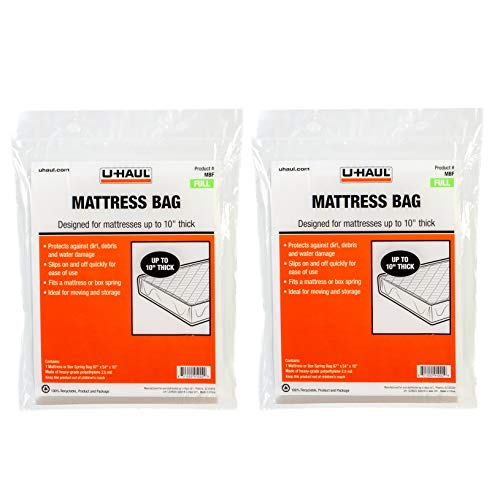 U-Haul Full Mattress Bags for Moving, Storage, and Renovation Protection - 87' x 54' x 10' Bags - Pack of 2 Bags