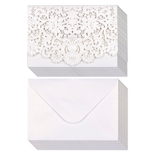 24-Pack Wedding Invitation Cards - Laser Cut Silver Foil and Floral Design Invitation Pockets for Bridal Showers, Engagement Parties, Includes Covers, Blank Inserts, Envelopes, 5 x 7.25 Inches, Silver