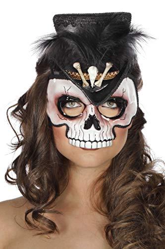 Wilbers Maske Voodoo Voodoomaske Halbmaske Knochen Schädel Halloween Hut Minihut Feder