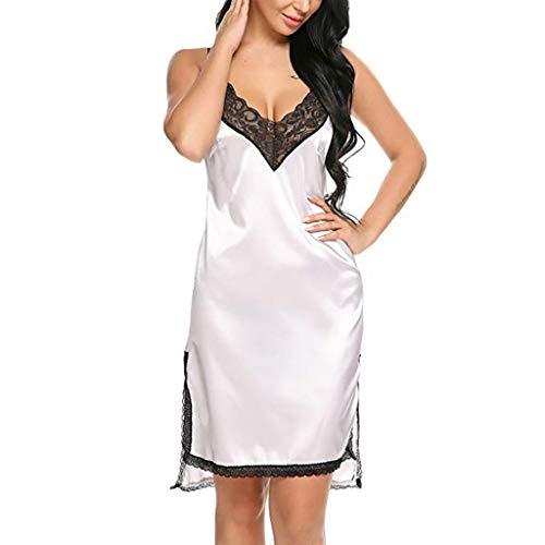 WensLTD Women s Pajamas Satin Nightgown Sexy Slip Mini Sleepwear Lace Trim Chemise Mini Teddy (XXL, White)