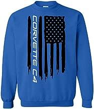 WheelSpinAddict Men's Corvette C4 American Flag Sweatshirt