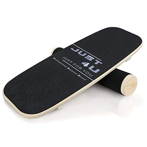 Balance Board Trainer with 3 levels of adjustable distance,Professional Wooden Roller Board for Hockey‎,Skateboard,Surf,Snowboard and More,Free Workout Guide