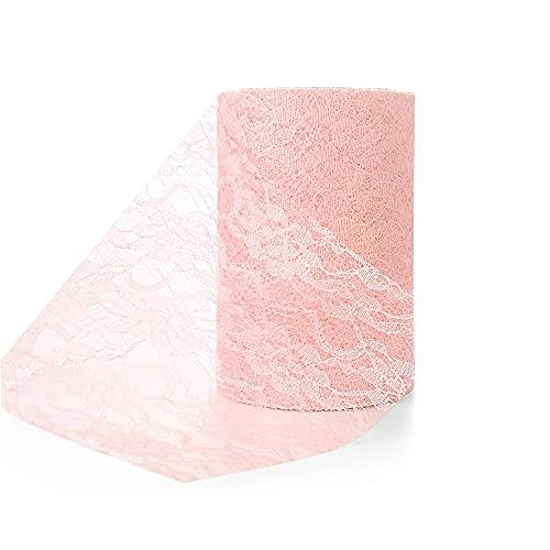 WAKNOER Chemin de table vintage rosé 15 cm   22 m dentelle florale chemin de table mariage communion, emballage cadeau, décoration de Noël (vintage rose)