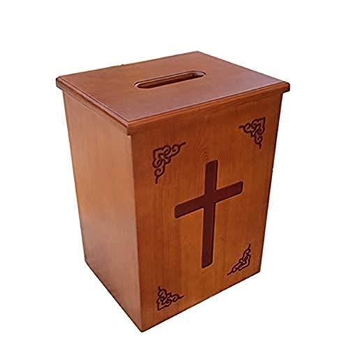 Aoyo Massivholz-Widmung Box Geschnitzte Briefkasten-Desktop-Donation Box Kirche Fundraising Widmung Box