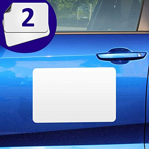 Blank Magnets (2 Pack) – Rounded Corners Blank Car Magnet Set – Perfect USA-Made Magnet for Car to Advertise Business, Cover Company Logo (for HOA), Prevent Car Scratches & Dents (Regular)