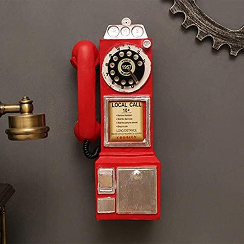 TEAYASON Decoración para el hogar estilo bar, estilo retro, vintage y antiguo, teléfono de pared, rojo, rojo
