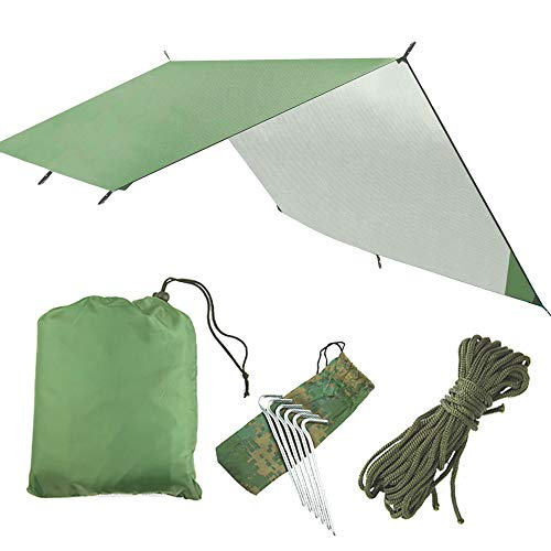SZSMD Hammock Rain Fly Tent Tarp, Waterproof Windproof Camping Shelter Sunshade 300cmx 300cm, Portable Beach Sun Shelter Camping Tent for Camping Outdoor Picnic Travel