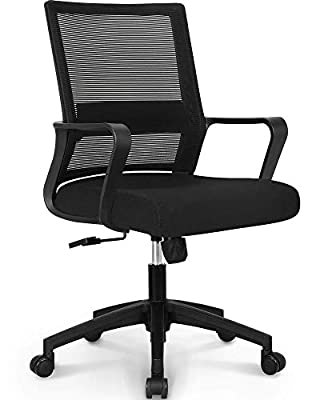 NEO CHAIR Office Chair Ergonomic Desk Chair Mesh Computer Chair Lumbar Support Modern Executive Adjustable Rolling Swivel Chair Comfortable Mid Black Task Home Office Chair, Black-Fabric from NEO CHAIR INC.