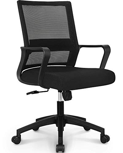 NEO CHAIR Office Chair Ergonomic Desk Chair Mesh Computer Chair Lumbar Support Modern Executive Adjustable Rolling Swivel Chair Comfortable Mid Black Task Home Office Chair, Black-Fabric