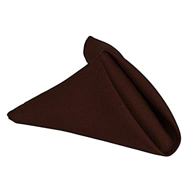 Fennco Styles Wholesale Classic Solid Dinner 20  Napkins, Set of 12(Chocolate)