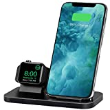 BNCHI 2 in 1 Aluminum Alloy Phone Wireless Charger Stand & Charging Station Compatible iWatch Holder Series 4/3/2/1/iPhone 11/11pro/X/Xs/Xs MAX/8 Plus/8(No iWatch Charging Cable)