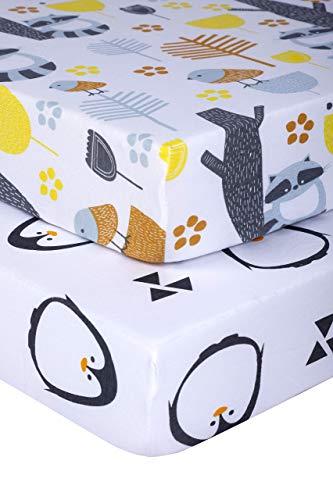 Pickle & Pumpkin Organic Crib Sheet   2 Pack Fitted Crib Sheets Set in 100% Organic Jersey Cotton   Toddler Mattress or Standard Crib Mattress Sheets   Girls & Boys   Penguin & Woodland Crib Sheet