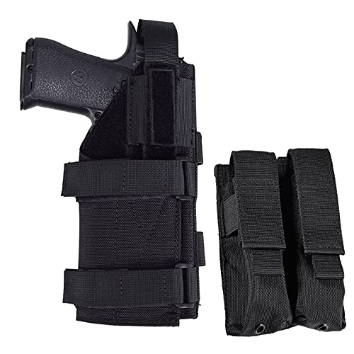 Pistol Pouch Holster for 9mm 1911 Glock - Universal Adjustable Hand Gun Case Molle Airsoft Pistol Holster Bag with Double Mag Magazine Pouch for M1911 G17 G18 G19 G26 G34(Right Hand)