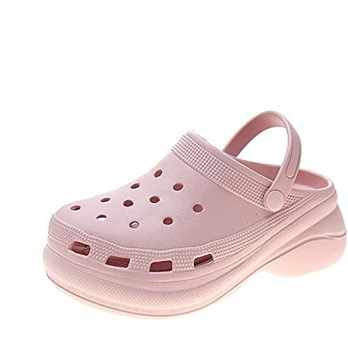 Deux Vêtements Couple Sandales Trou Chaussures de Plage Nouvel été Bord de Mer Pantoufles pour Hommes Chaussures de Sport de Plein Air Coussin d'air Fond Antidérapant Jardin,Pink-40