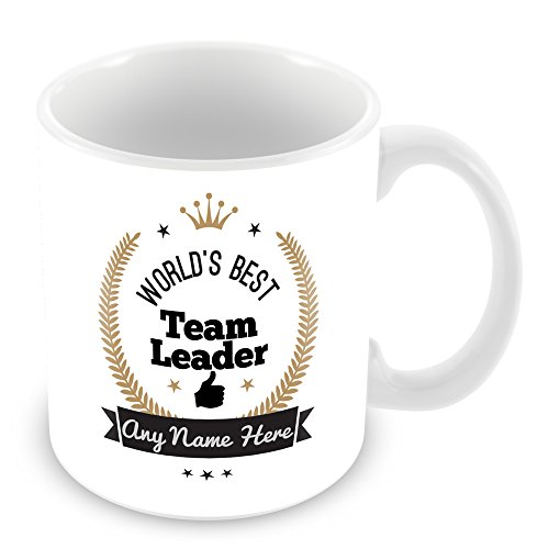 World's Best Team Leader Personalised Mug Gift - Customise Cup with Name -...
