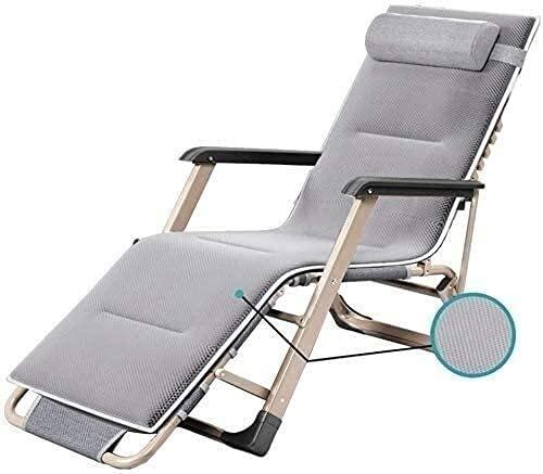 FXBFAG Sillones reclinables de jardín ajustables con gravedad cero reclinable silla de playa plegable al aire libre sillas de jardín tumbonas 200 kg (color gris sin cojines)
