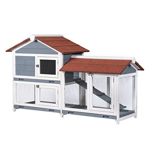 Good Life Two Floors 62' Wooden Outdoor Indoor Roof Waterproof Bunny Hutch Rabbit Cage Guinea Pig Coop PET House for Small to Medium Animals with Stairs and Cleaning Tray PET537