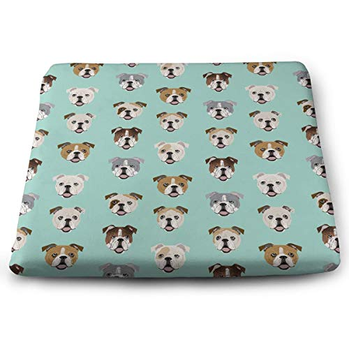 Memory Foam Pad zitkussen. Autostoel kussens om hoogte te verhogen - bureaustoel Comfort kussen - Engels Bulldog hond gezicht Mint groen