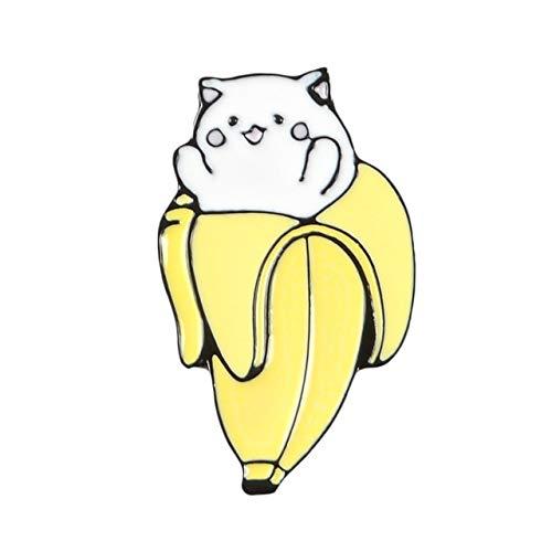 Emaille-Brosche mit Katzen-Box und Bananen-Kätzchen, lustiges Tier-Design, Denim-Hemd, Anstecknadel, Cartoon, Punk, Schmuck, Geschenk für Kinder und Freunde