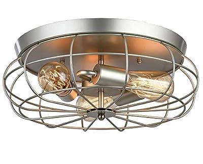 LOKHOM Flush Mount Ceiling Light fixtures, Industrial Rustic Metal Cage Pendant Light Lamps for Kitchen, Living Room, Hallway, Vintage Farmhouse Light Fixture, 3-Light, E26 (Nickel Finish, 16.5 Inch)