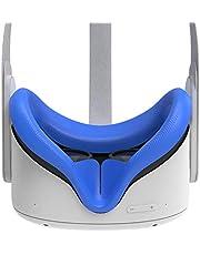 AMVR VR Siliconen Gezicht Cover voor Oculus Quest 2 Headset, Zweetbestendige Waterdichte Anti-Vuile Vervanging Gezichtskussen Oculus Pads Accessoires (Blauw)