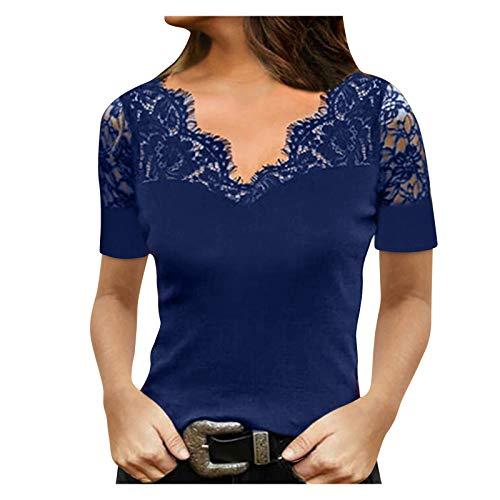 Yowablo Bluse Frauen Off Shoulder Kurzarm Pendeln Pullover V-Ausschnitt Spitze Bottoming (XL,3Blau)