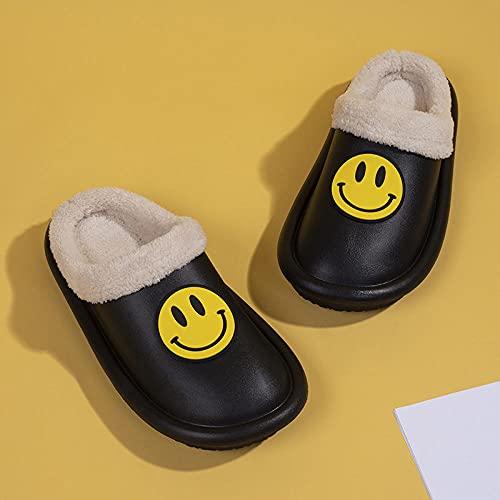 DHYF Zapatillas de Invierno para Interior y Exterior,Zapatillas de algodón de Moda Sonriente, Zapatillas Calientes e Impermeables.-Negro_40-41,Pantuflas cálidas Pantuflas Ligeras y Suaves