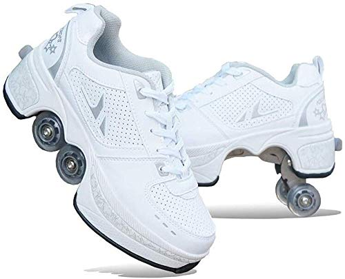 Guoyajf Doppelte Fahrbare Rollen-Schuhe Für Jungen-Mädchen-Kinderrochen-Schuhe Mit Vier Rädern, Rollschuhe Schuhe Mädchen Jungen Radschuhe Kinder Rad Turnschuhe,Weiß,34