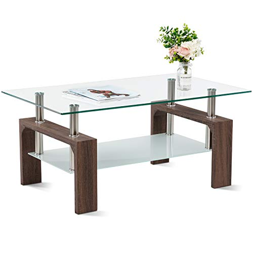 Smile Back Glass Coffee Table 39.4'' Coffee Tables for Living Room Brown Coffee Table Center Tables for Living Room Frosted Glass & Strength Smooth Glass Side Coffee Table with Shelf Wood Legs (Brown)