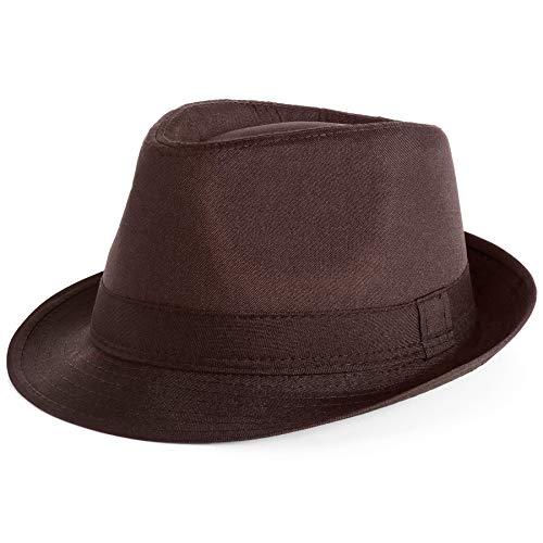 PORSYOND Farbic Fedora Hat Men Women Belt Panama Jazz Hat Trilby Hat with Band (B-Brown, Fabric)