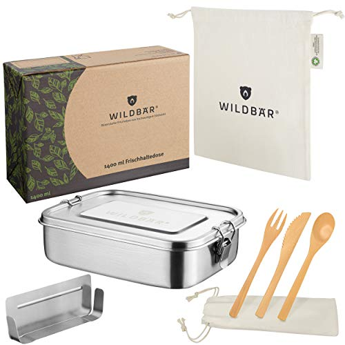 WILDBÄR® - Premium Edelstahl Brotdose mit Fächern + GRATIS Bambus-Besteck - Metall Lunchbox auslaufsicher [800ml] - Nachhaltige Bento Box als praktische Kinder Brotbox mit Trennwand - Mod. 2020