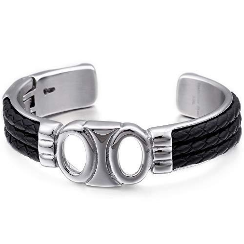 LH&BD Acero Inoxidable para brazaletes Hombres del Brazalete de Cuero del Abrigo Massive Accesorios de la joyería Masculina Manguito Pulseras de Viking joyería