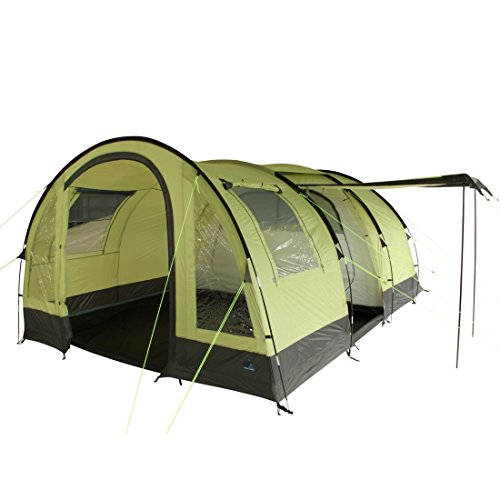 """10T Outdoor Equipment - Tenda da Campeggio """"Devonport 5"""",Tenda a Tunnel con Soggiorno per 5Persone, Tenda da Famiglia con Ventilazione, Fondo Cucito, Impermeabile con 5000mm di Colonna d'Acqua"""