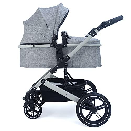 Pixini Cochecito de bebé Neyla con bañera de tela, asiento, bolso cambiador, portavasos, protector de lluvia, red antimosquitos, cambiador en gris/gris jaspeado