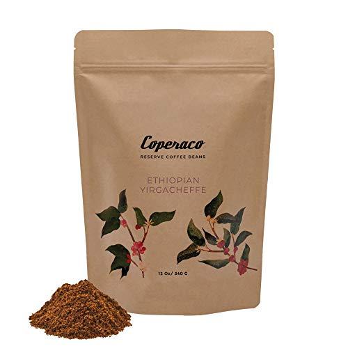 Coperaco Ethiopian Yirgacheffe, Ground Coffee, Distinctive Floral Bouquet, Rich Body, Fragrant Aroma, Smooth Mellowness, Gourmet, Artisanal, 100% Arabica, Light Roast, 12 oz