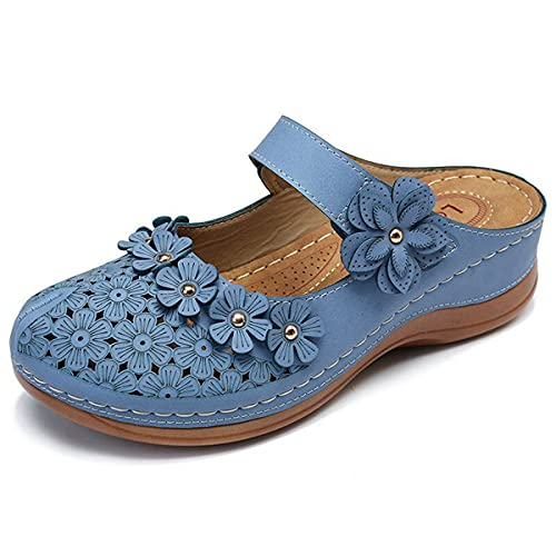 2021 Sandalias de flores vintage de verano para mujer, sandalias de cuña informales vintage,Sandalias para mujer elegantes,Zapatillas de plataforma de playa de colores retro para mujer (E,8)