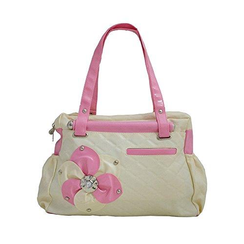 Typify Casual Shoulder Bag Pink & Cream Zip Closure Women & Girl's Handbag (Pink)