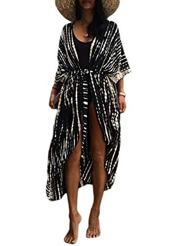 Bsubseach Women Black Tie Dye Long Beach Swimsuit Cover Ups for Swimwear Sexy Bikini Beach Kimono Cardigan
