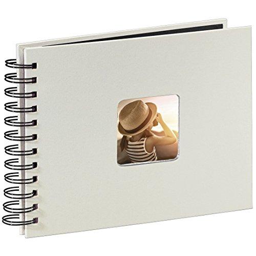 Hama Fotoalbum Spiralalbum, 50 schwarze Seiten, 25 Blatt, Größe 24 x 17 cm, mit Ausschnitt für Bildeinschub, Fotobuch kreide