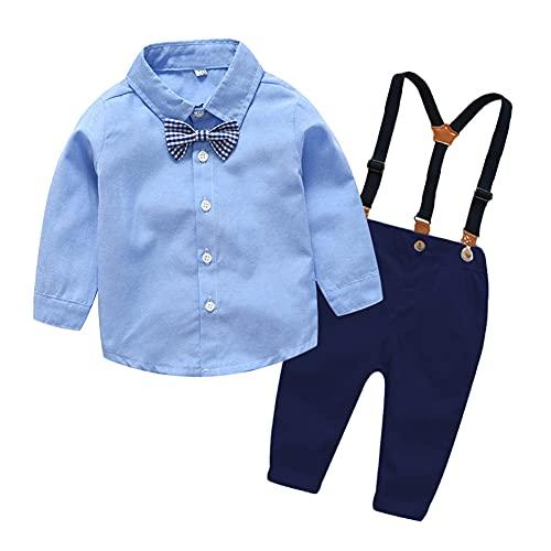 BOBOBORA - Conjunto de bebé niño de verano, ropa de conjunto para bebé, bautizo, ceremonia, bocinas, flores de manga corta + pantalón corto con tirantes para 0-3 años Azul oscuro 2-3 Años