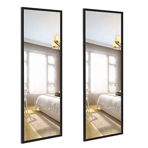 Amazon Brand - Eono Espejo de Cuerpo Enterno de Pared, Espejo Largo y Grande de 35,6×122 cm, Apto para Baño, Dormitorio y Salon, Negro, Juego de 2