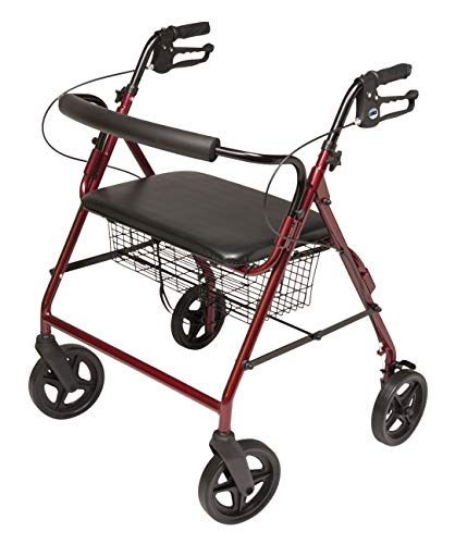 Lumex Walkabout Imperial Bariatric Rollator with Seat - Extra-Wide 19.5' Seat with 450 lb. Weight Capacity & Large 8' Wheels - Burgundy, RJ4400R