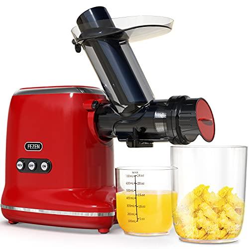 FEZEN Slow Juicer, Entsafter für Obst und Gemüse, 8-stufige Spiralmühlen Technologie & Ruhiger Motor & Umkehrfunktion & Saftkanne & Reinigungsbürste, Einfach zu reinigen, Kochbuch(fitness)