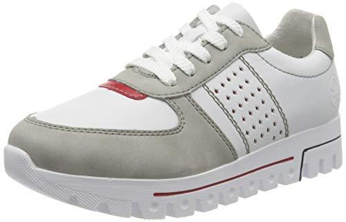 Rieker Damen Frühjahr/Sommer L2820 Slip On Sneaker, Weiß (Cement/Weiss/Rosso/ 40 40), 36 EU
