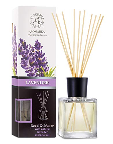 Reed Diffuser with Natural Essential Oil Lavender 200ml - Scented Reed Diffuser - Non Alcohol - Gift Set with Bamboo Sticks - Best for Aromatherapy - SPA - Home - Office - Fitness Club