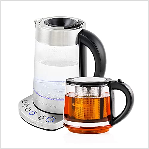 Ovente Electric Glass Kettle 1.7 Liter Prontofill Technology & 4 Variable Temperature Setting with Stainless Steel Base, Bonus of Portable Reusable Pour Teapot Infuser Perfect for Tea, Silver KG733S