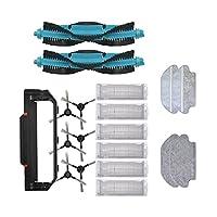 真空部の取り替えの真空部分の交換用の主面のブラシの使い捨てモップの垂れフィットViomi V2 Pro V3 MOPフィルターHEPA V-RVCLM21Bアクセサリーロボット掃除機クリーナー部品(カラー:ブラックブルー) (色 : Black Blue)