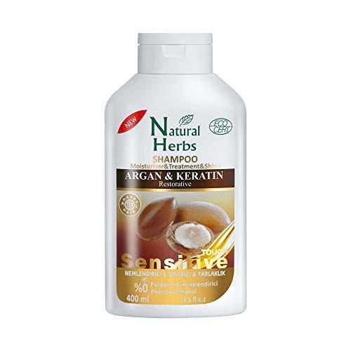 Seed Natural Herbs Argan Keratin Shampoo 400 ml - verleiht Ihrem Haar Feuchtigkeit, Glanz und Geschmeidigkeit- Ideal für trockene Kopfhaut und Haare- Arganöl Shampoo mit Keratin Haarkur