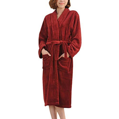 Yying Largo Más El Tamaño de Invierno Cálido Coral Fleece Albornoz Mujeres Franela Dobby Kimono Bata de Baño Vestido de Dama de Honor Boda